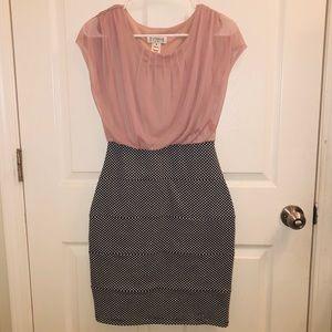 Enfocus Studio Blush Pink & Black Polka Dot Dress